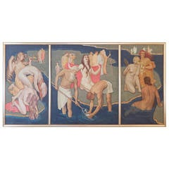 """Parable,"" Large Art Deco Triptych Mural with Nudes by MacMorris, 1934"