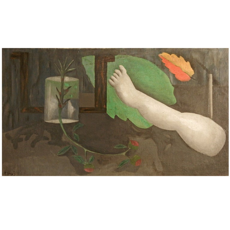 """""""Leg and Leaf,"""" Important Surrealist Painting by Gaulois, MOMA"""