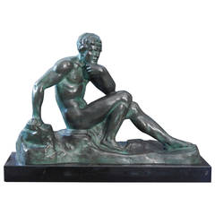 """""""Seated Male Nude,"""" Rare Art Deco Bronze Sculpture by Ouline"""
