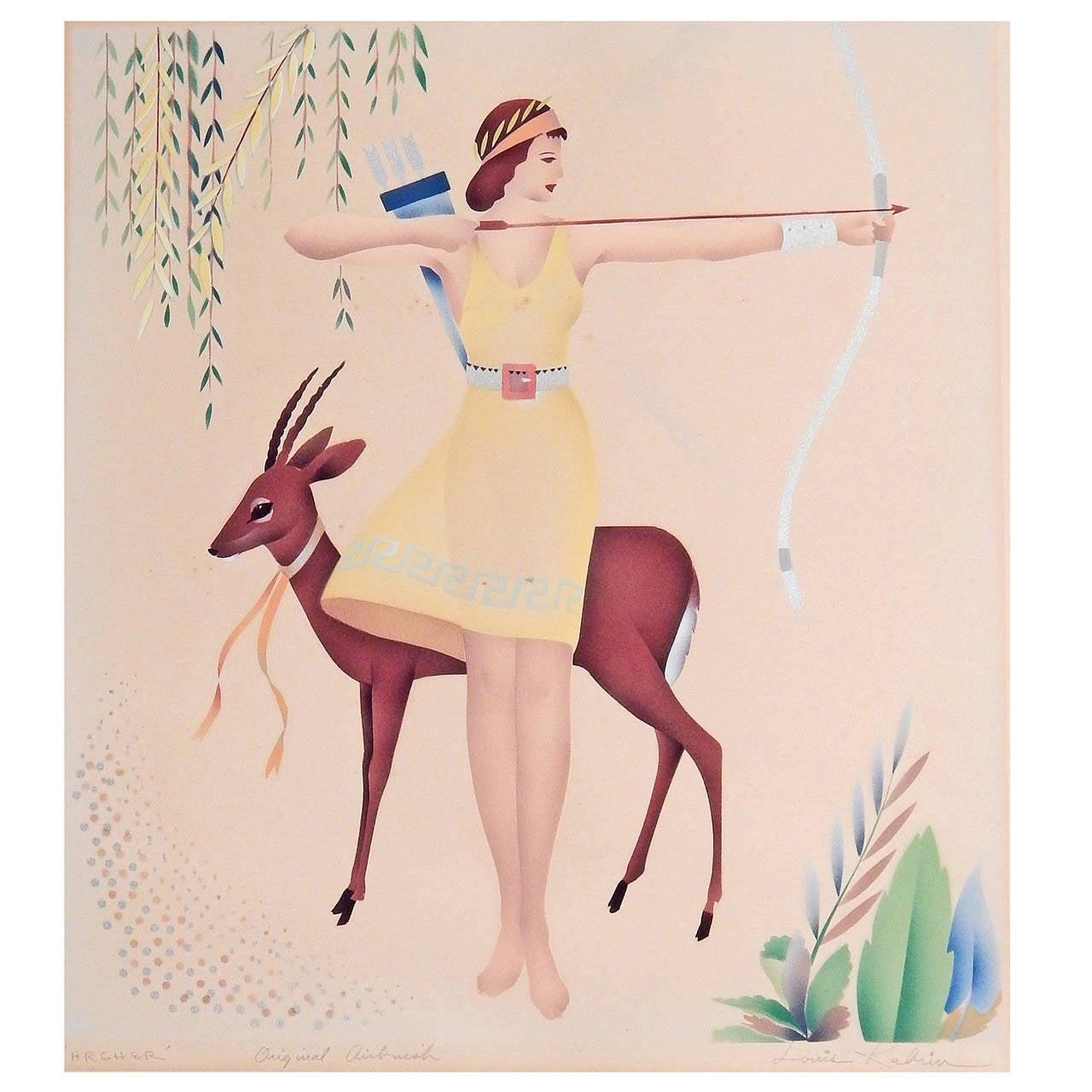 """Archer,"" Lovely Art Deco Aquatone by Louis Kabrin, High Style Art Deco"
