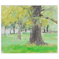 """Big Trunk, Yellow and Green,"" Early Painting by Stuart Shils, 1986"