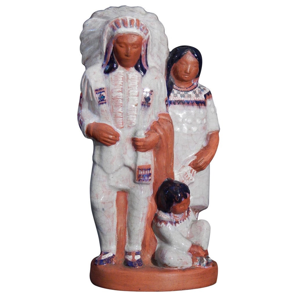 """""""Indian Chief and Family,"""" Important WPA-Era Sculpture by Seaver, 1930s"""