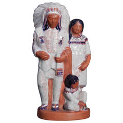 """Indian Chief and Family,"" Important WPA-Era Sculpture by Seaver, 1930s"