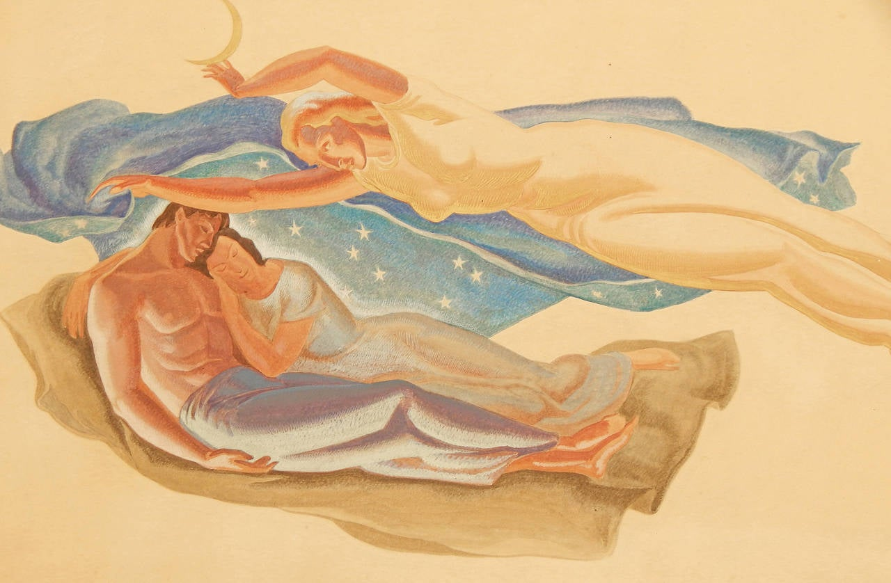 This gorgeous and important mural study, depicting a sleeping couple under a starlit sky, watched by the goddess Diana overhead, was painted in gouache and gold by Dunbar Beck, in preparation for a series of murals he did for the 1939-1940 New York