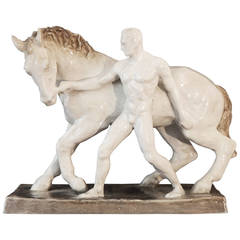"""Walking the Horse,"" Nude Male Sculpture by Else Bach for Karlsruhe, Art Deco"