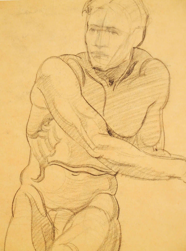 """Seated Male Nude,"" Drawing by Joe Waano Gano image 2"