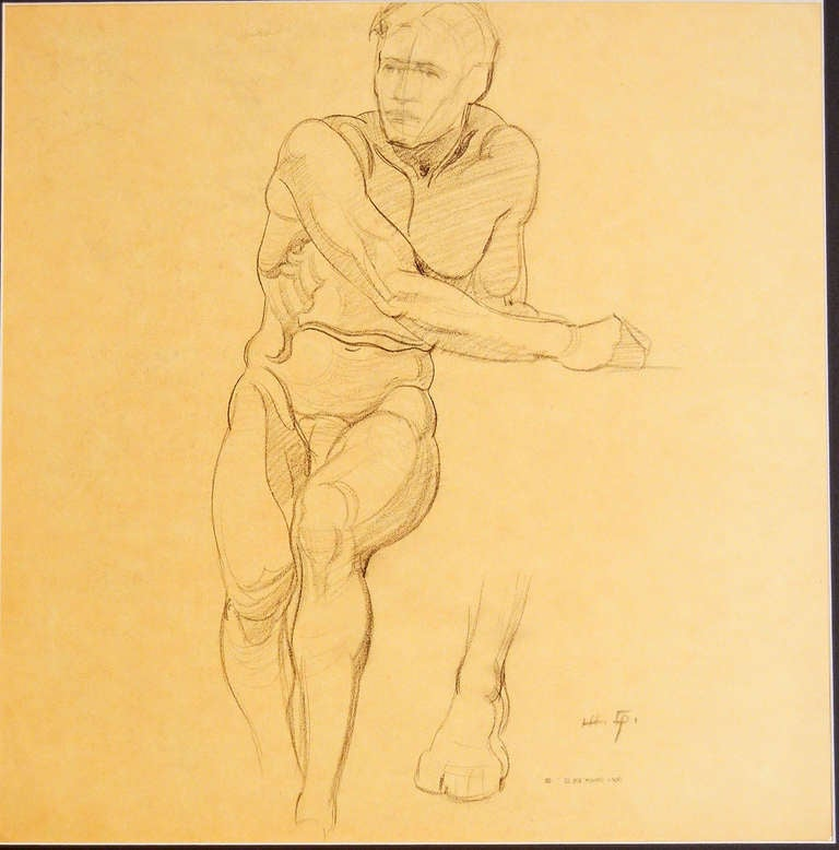 """Seated Male Nude,"" Drawing by Joe Waano Gano image 4"
