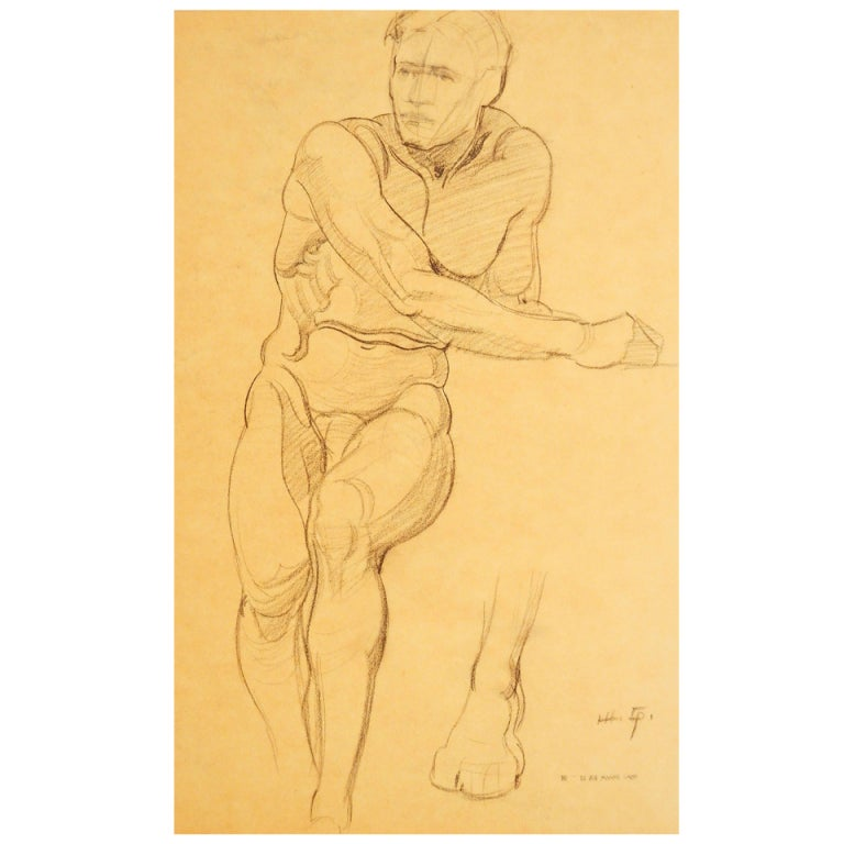 """Seated Male Nude,"" Drawing by Joe Waano Gano"