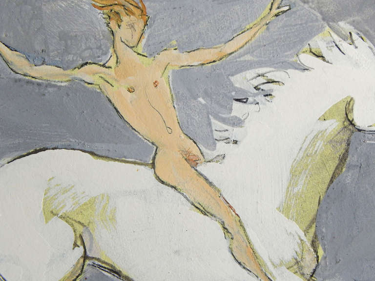 Painted with confidence and bravura, this depiction of a nude male figure on horseback with arms outstretched by Emlen Etting is full of joy. Etting had a lifelong interest in capturing the likenesses of handsome, glamorous friends, and he traveled