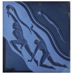 """Torchbearers,"" Art Deco Etched Glass Panel with Nude Males"