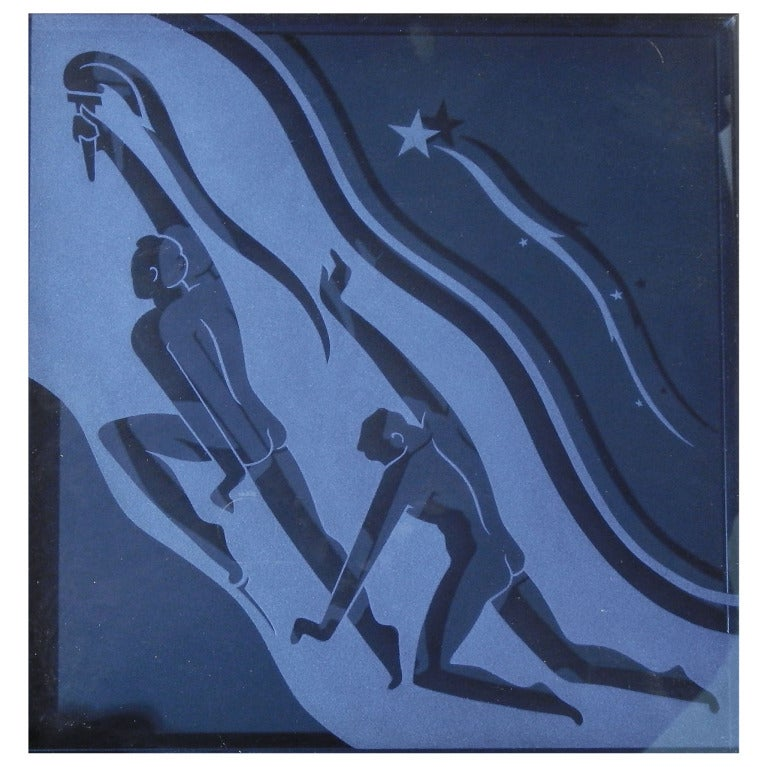 """Torchbearers,"" Art Deco Etched Glass Panel with Nude Males For Sale"