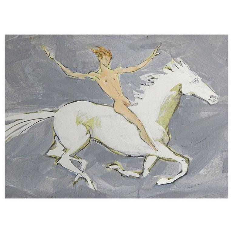 """""""Nude Male on Horseback,"""" Bravura Painting by Emlen Etting"""