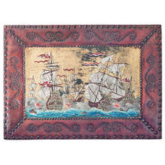 """""""Sea Battle,"""" Very Fine Painting on Leather with Studded Leather Frame circa 1930"""