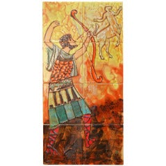 """Hercules and St. George,"" Rare Set of Mid Century Tiled Panels"