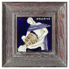"""Aquarius,"" Important Art Deco Tile with Nude Male and Cerused Oak Frame"