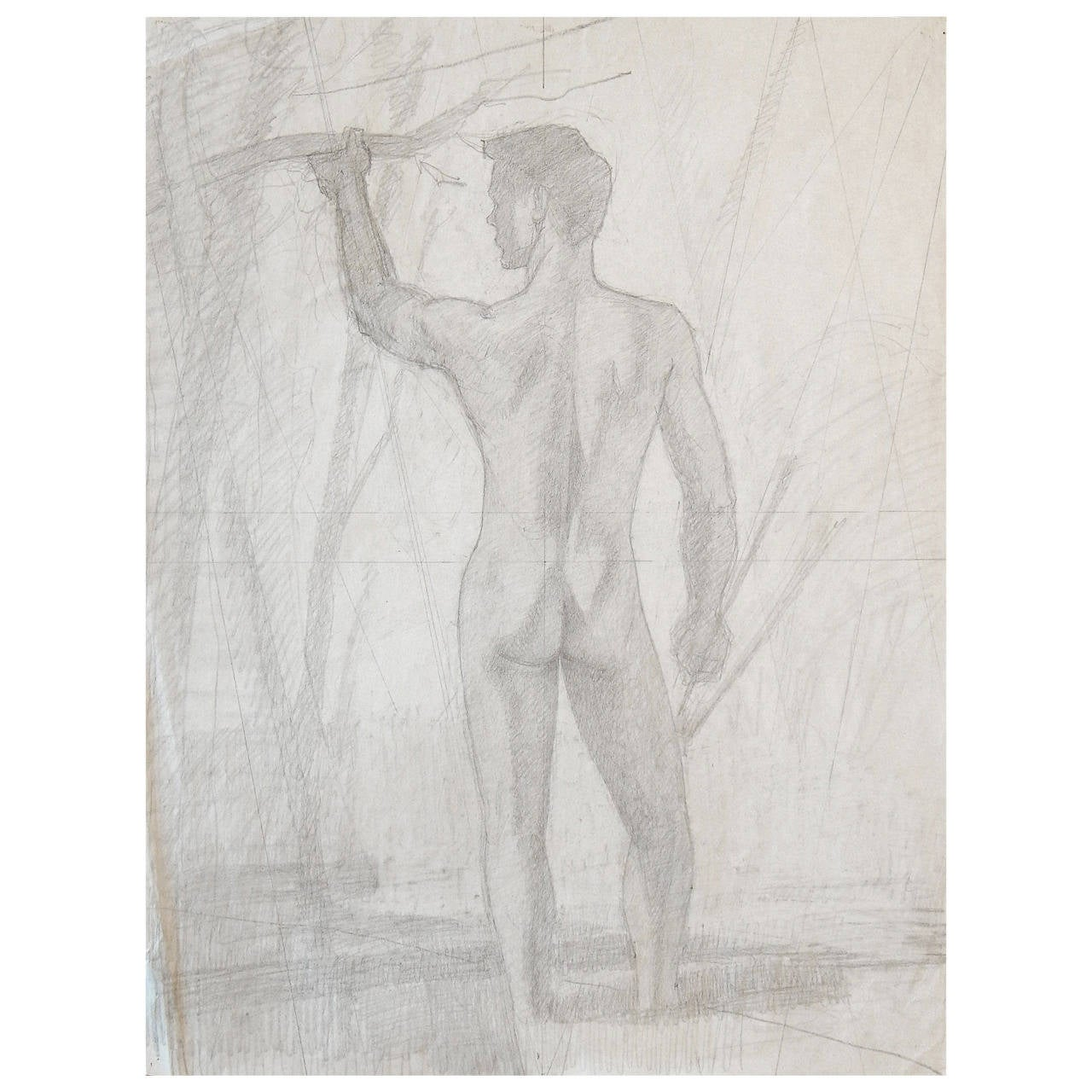 """Standing Male Nude,"" Preparatory Drawing by Dunbar Beck"