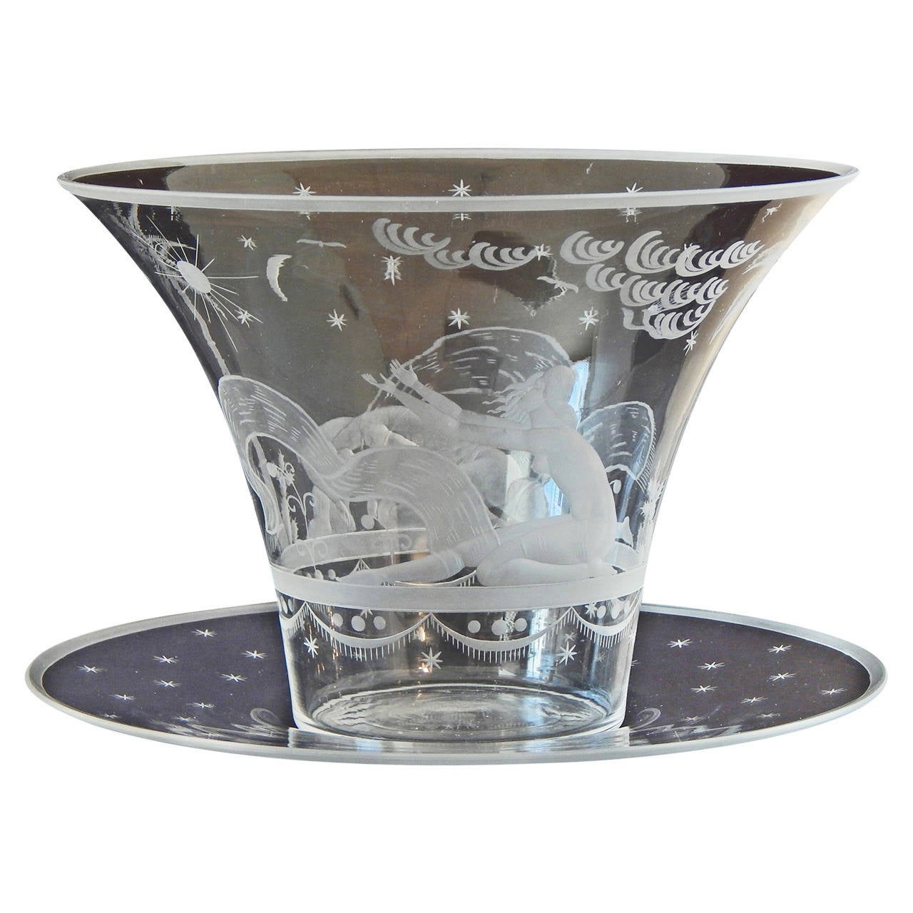 """""""Supplication to Sun and Moon,"""" Tour de Force Art Deco Vase, Engraved Glass For Sale"""