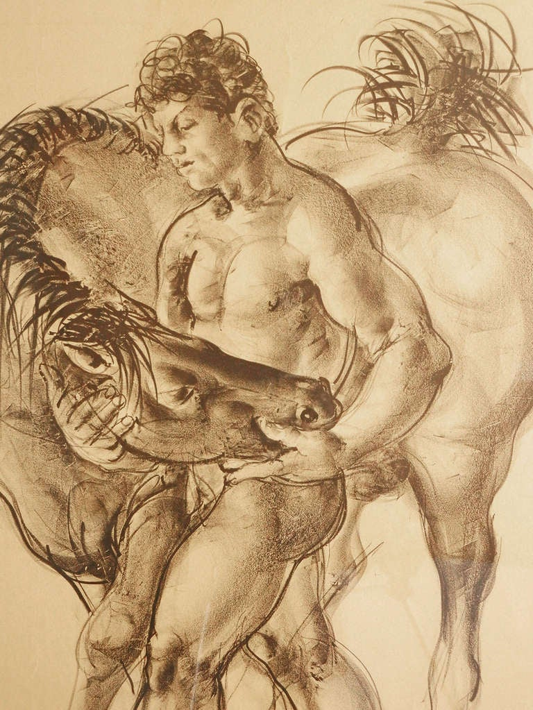 Created by Hans Erni, arguably the last great, figurative artist of the 20th and early 21st centuries, this print of a nude male youth holding the head of a horse is an early and important example of the artist's oeuvre.  Before he died recently,