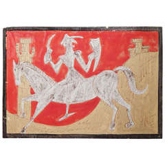 """""""Knights and Castles,"""" Superb Pair of Mid-Century Italian Wall Tiles"""