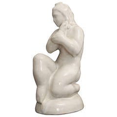 """Seated Female Nude,"" Lovely French Art Deco Sculpture"