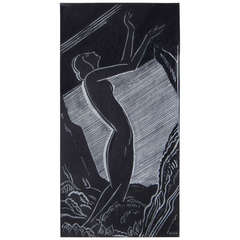 """Nocturnal Nude,"" Very Fine Art Deco Drawing by Nunes, 1931"