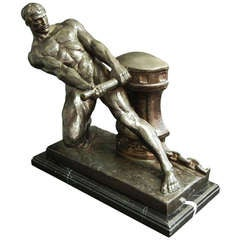 """Winding the Winch,"" Rare, Substantial Bronze by Henri Bargas"