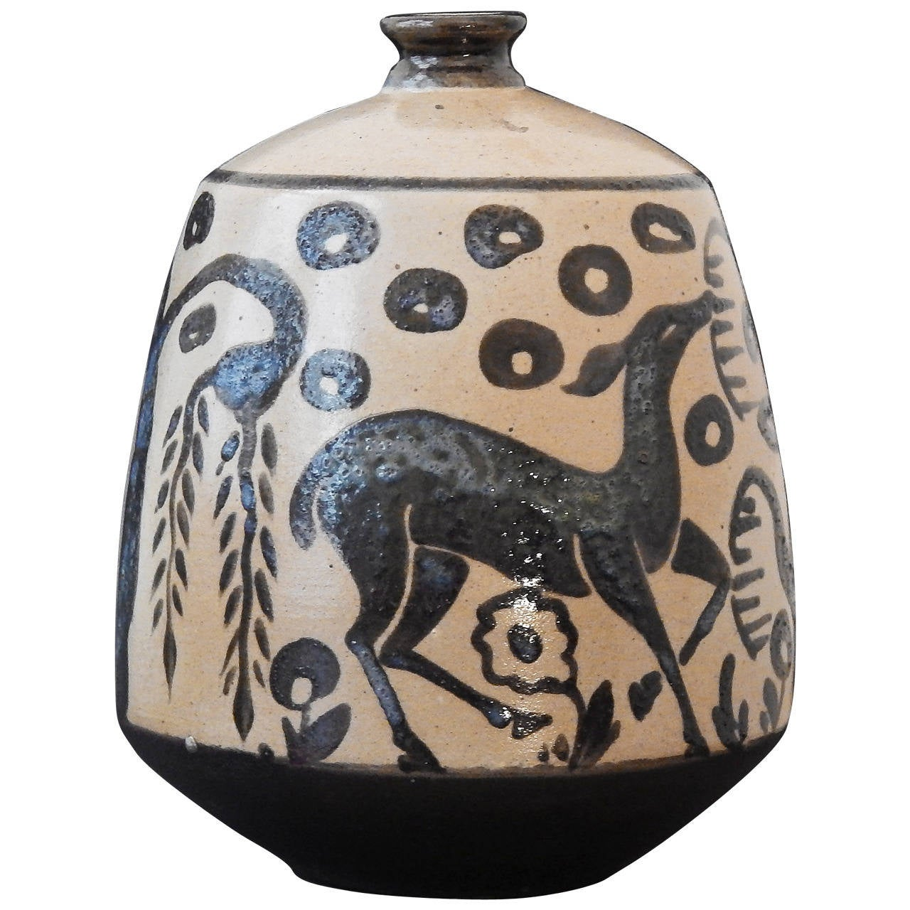 """Deer with Weeping Willow,"" Superb Art Deco Vase by Primavera, France"