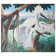"""Snowy Egrets and Cypress,"" Large Art Deco Painting by Harcombe"