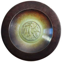 """Diana and Stag,"" Superb, High Style Art Deco Large Bronze Bowl by Ystad"