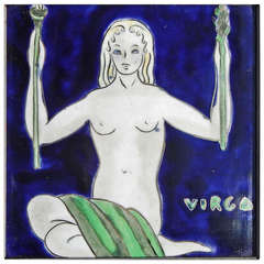 """Virgo,"" Fine and Rare Art Deco Framed Tile by Bonnie MacLeary"