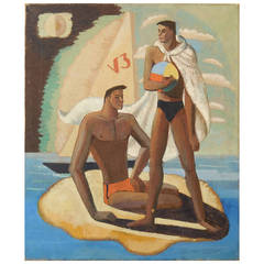 """The Swimmers,"" Superb Art Deco Painting Influenced by Cubism, 1934"