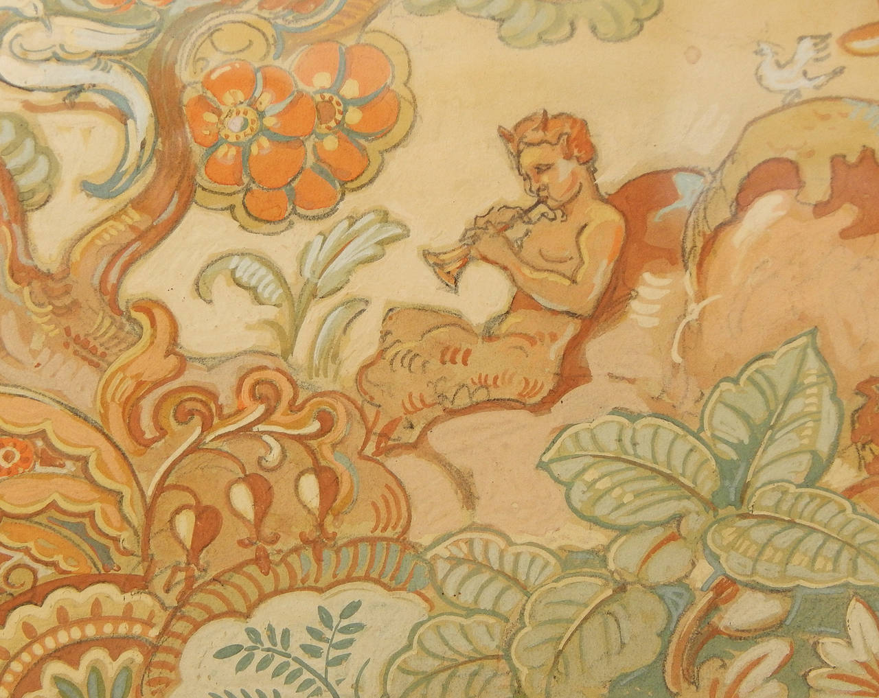 Gorgeously detailed and voluptuously painted, this superb depiction of pan playing his pipes in a paradise full of extravagant life -- including rabbits, squirrels, crested birds and stylized, Art Deco foliage -- was created by Einar Petersen, a