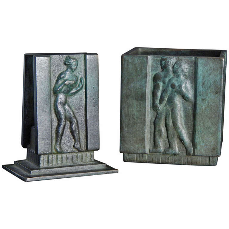 Very fine pair of art deco bronze desk accessories for Deco accessoires
