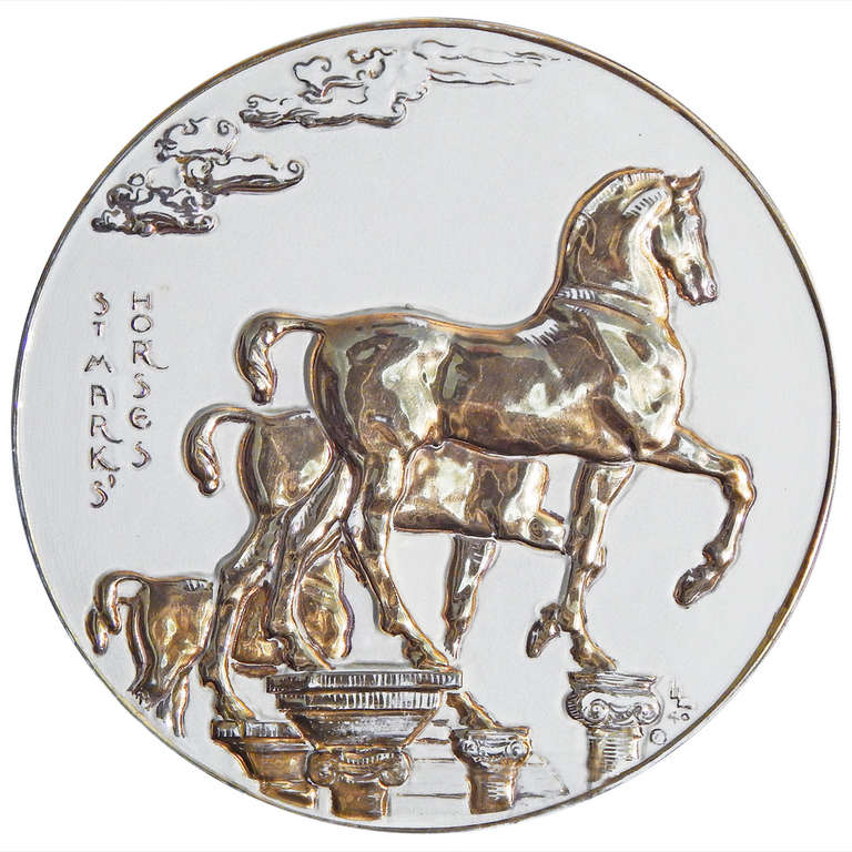 """St. Mark's Horses,"" Large Sculptural Rondel with Gold Glaze by Leo Lentelli"
