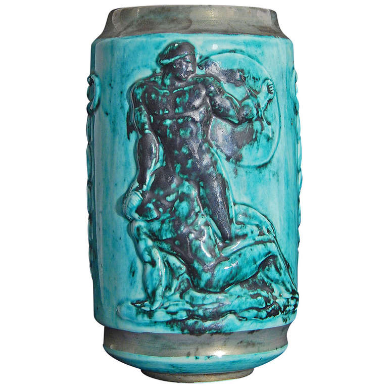 """Nude Warriors and Physician,"" Rare Art Deco Apothecary Jar by Mayodon"