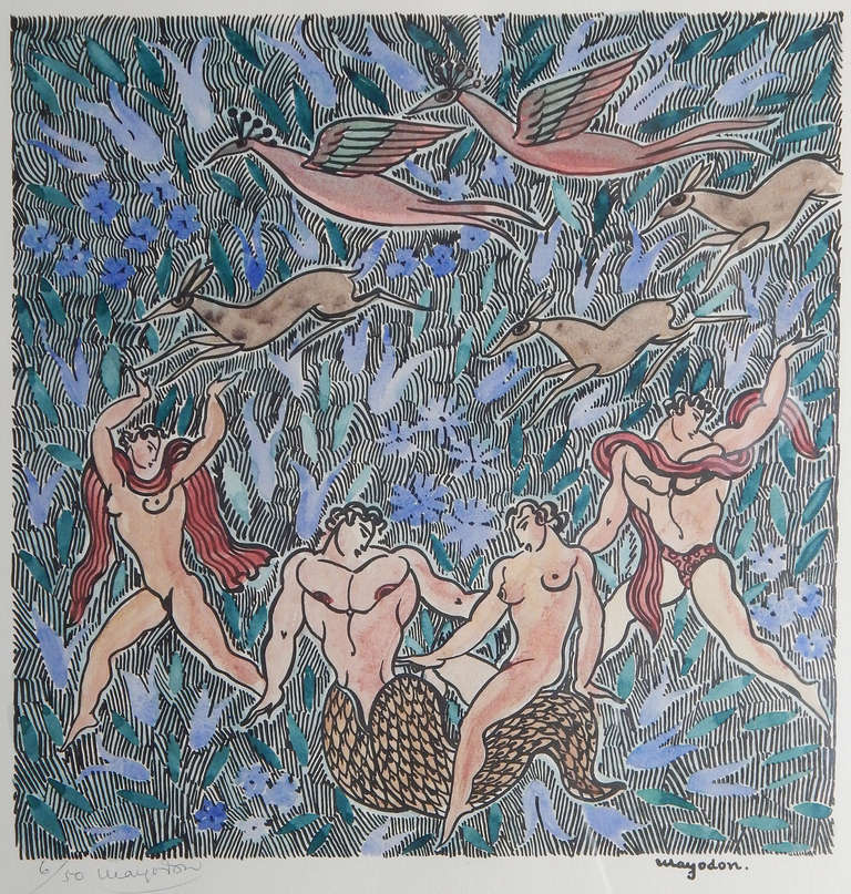Created by one of the great practitioners of Art Deco during its heyday in France, this very rare print by Jean Mayodon pictures a nude female riding the tail of a merman, surrounded by other nude figures in an Edenic world.  As usual, Mayodon's