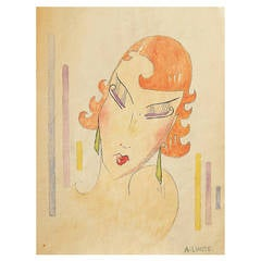 """Redhead,"" Art Deco Stylized Watercolor of Young Woman by Lhote, France"