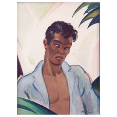 """Portrait from the Dominican Republic,"" Superb Watercolor by Heitland, Art Deco"