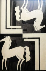 """""""Art Deco Horses,"""" etched glass panel by Ivan Rigby"""