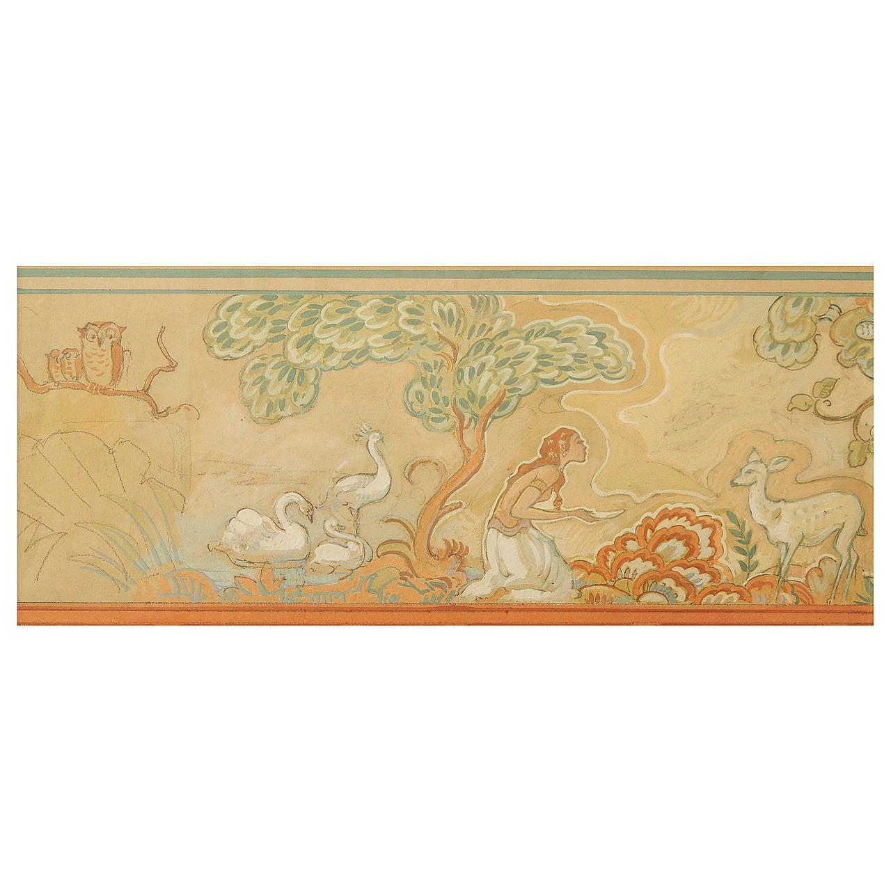 """""""Nymph and Fawn in Paradise,"""" Superb Art Deco Mural Study Painting by Petersen"""