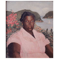 """Pink Dress,"" Lovely WPA Period Portrait Overlooking Caribbean Harbor"