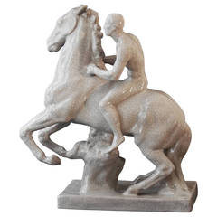 """Nude on Horseback,"" Art Deco Sculpture by Else Bach for Karlsruhe"