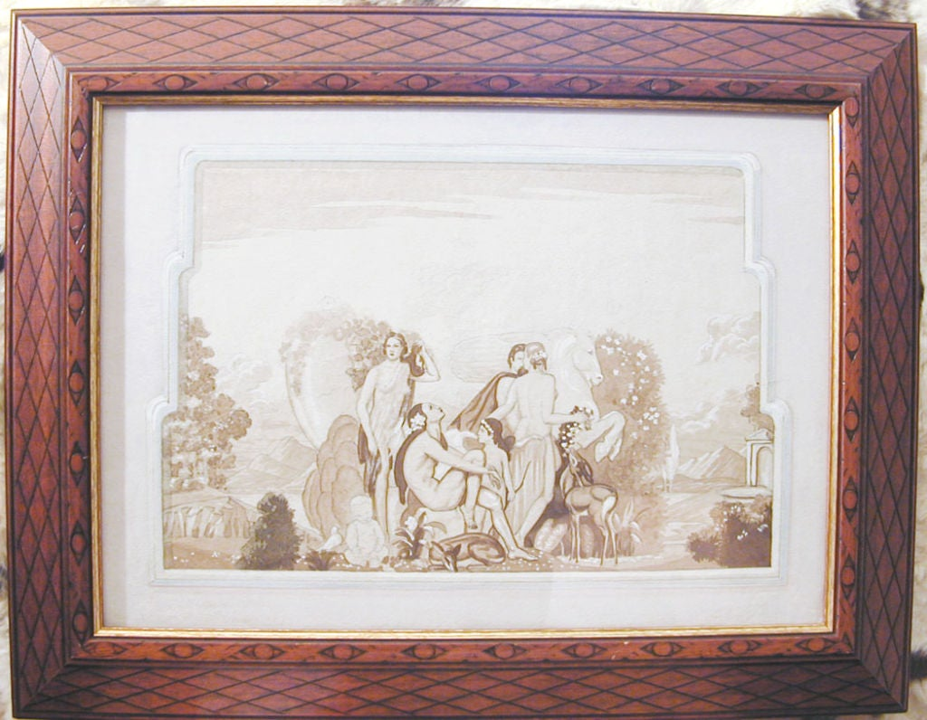 Classic art deco mural study with nude figures from france for Classic mural painting