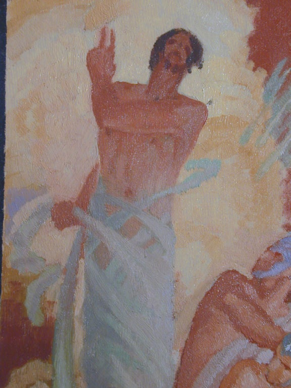 Important Art Deco Painting With Male Nudes By Dunbar Beck -1484