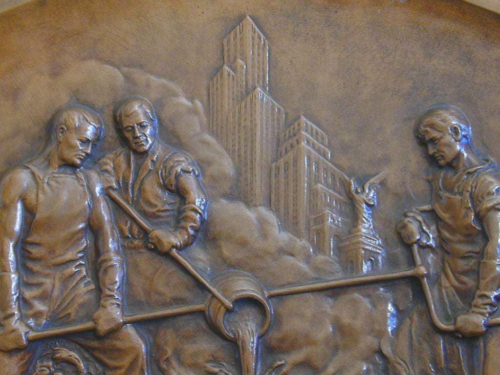 deco bas relief bronze with new york skyline for sale at 1stdibs