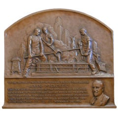 Art Deco Bas Relief Bronze with New York Skyline