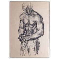 """""""Half Nude Man at Rest,"""" Important Drawing of Black Worker by De Erdelyi"""