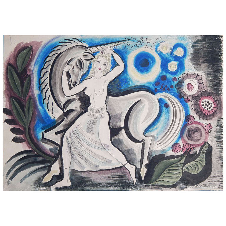 """Nude and Unicorn,"" Brilliant and Important Art Deco Painting by Matulka, 1944 For Sale"
