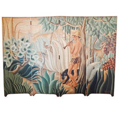 """Pan in Paradise,"" Spectacular Art Deco Folding Screen by Labaye"