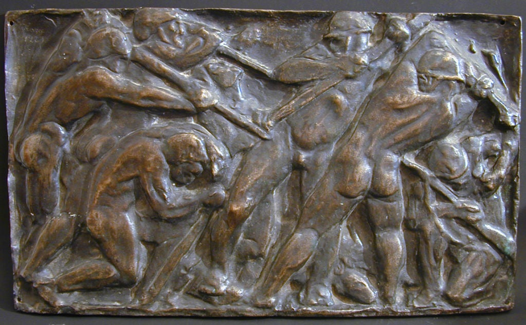 This extraordinary bronze panel by Hungarian artist Anna von Koranyi, depicting a group of nude miners working deep underground to extract coal, shows signs of Cubism and the impending classicism of Art Deco. The strong and solid miners are packed
